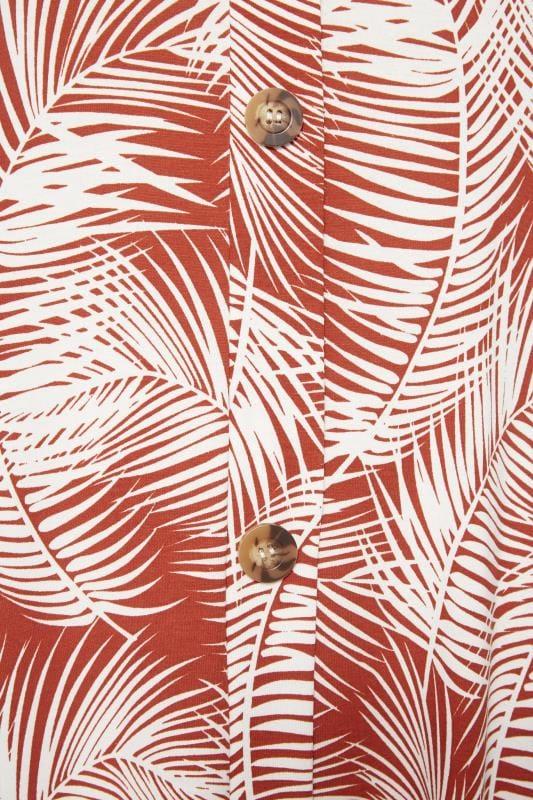 Rust Orange Palm Print Drape Pocket Dress