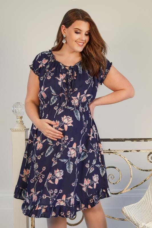 BUMP IT UP MATERNITY Navy Floral Gypsy Dress With Elasticated Waist