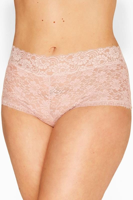 Plus Size Shorts Tallas Grandes Baby Pink Floral Lace Shorts