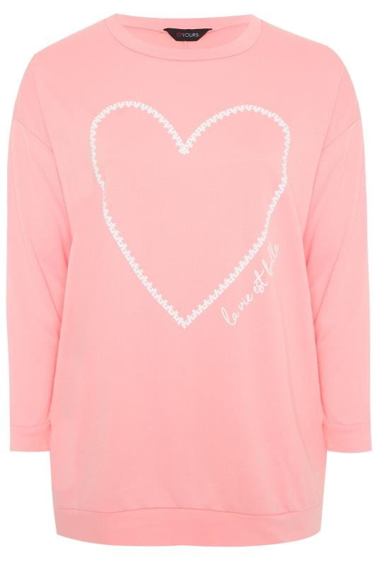 Plus Size Sweatshirts Light Pink Heart Sweatshirt