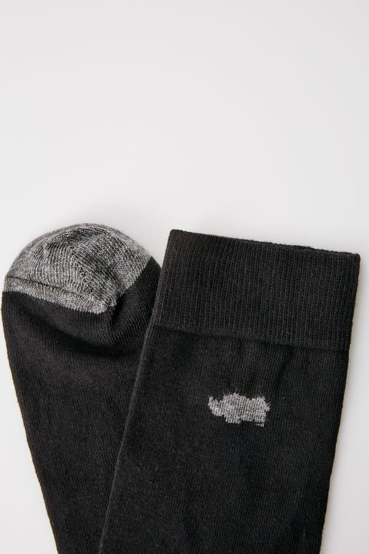 BadRhino Black Socks With Grey Contrast Heel & Toe
