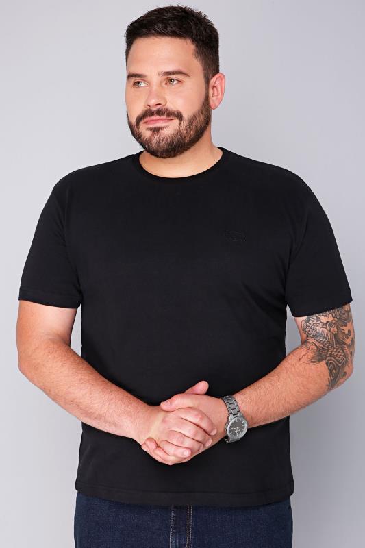 BadRhino Black Basic Plain Crew Neck T-Shirt - TALL