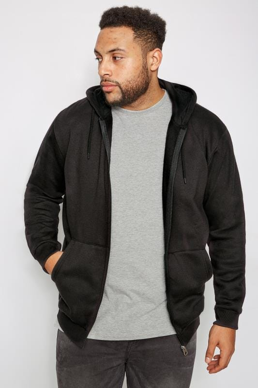 Plus Size Hoodies BadRhino Black Basic Sweat Hoodie With Pockets