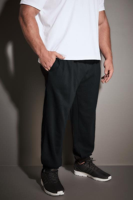 Plus Size Joggers BadRhino Black Basic Sweat Joggers With Pockets