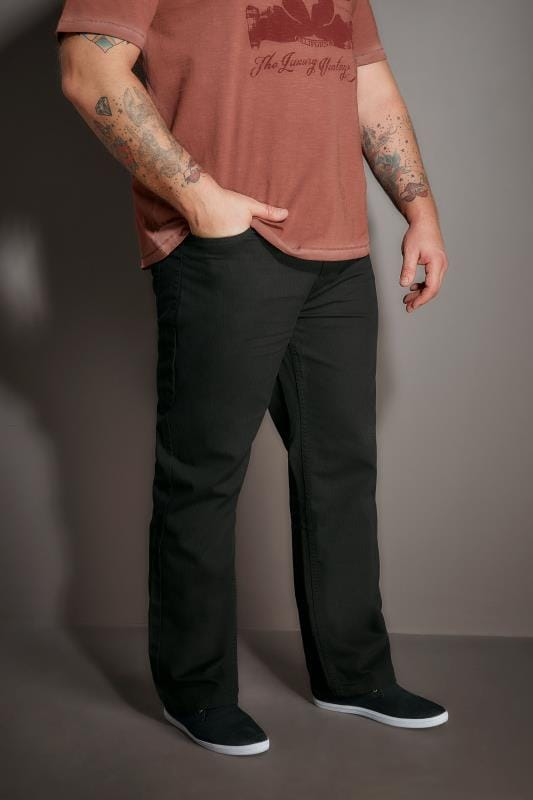 Plus Size Chinos & Cords BadRhino Black Bedford Cord Trousers