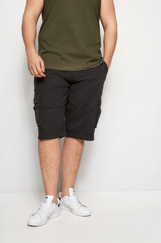 Men's Cargo Shorts BadRhino Black Cargo Shorts With Canvas Belt