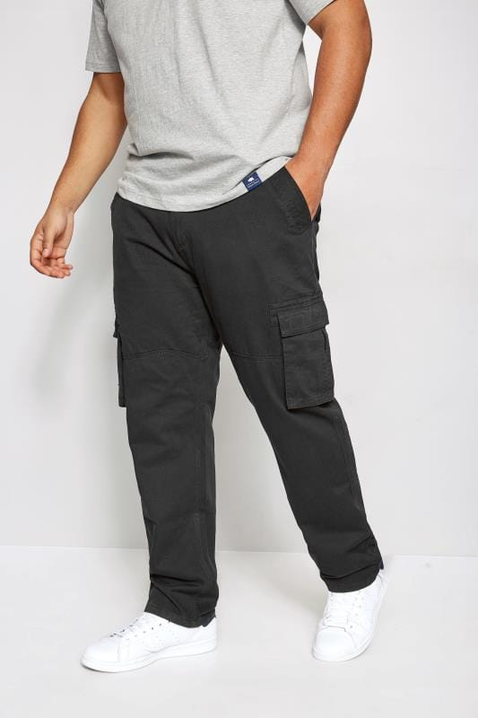 Plus Size Cargo Trousers BadRhino Black Cargo Trousers With Utility Pockets & Canvas Belt