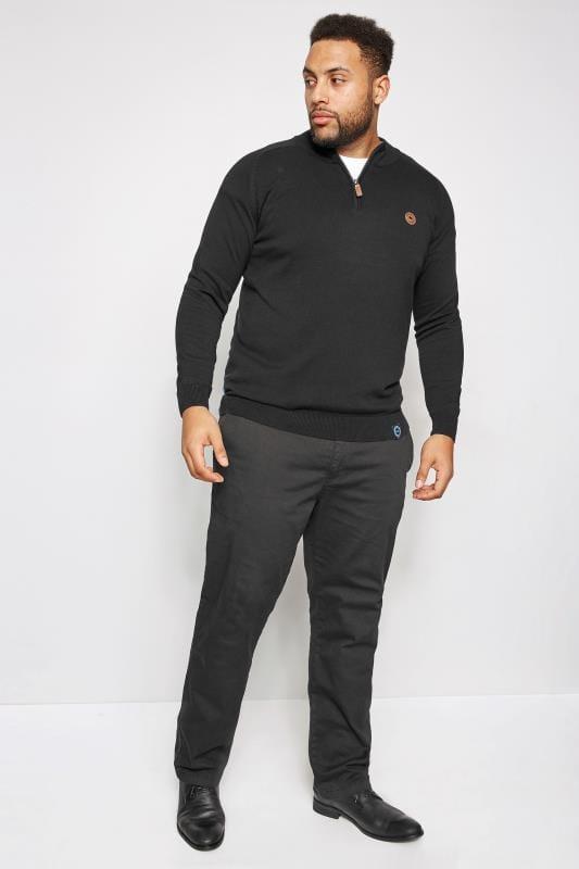 BadRhino Black Fine Knit Zip Jumper