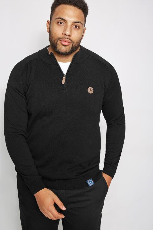 Jumpers BadRhino Black Fine Knit Zip Jumper 200736