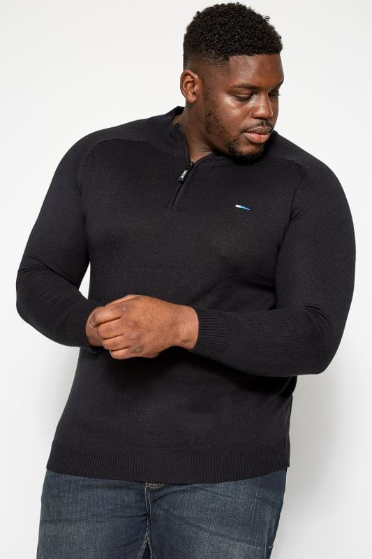 Plus Size Jumpers BadRhino Black Fine Knit Zip Neck Jumper