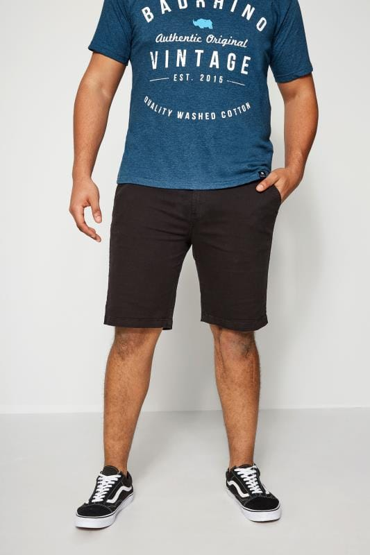 Men's Chino Shorts BadRhino Black Five Pocket Chino Shorts With Belt