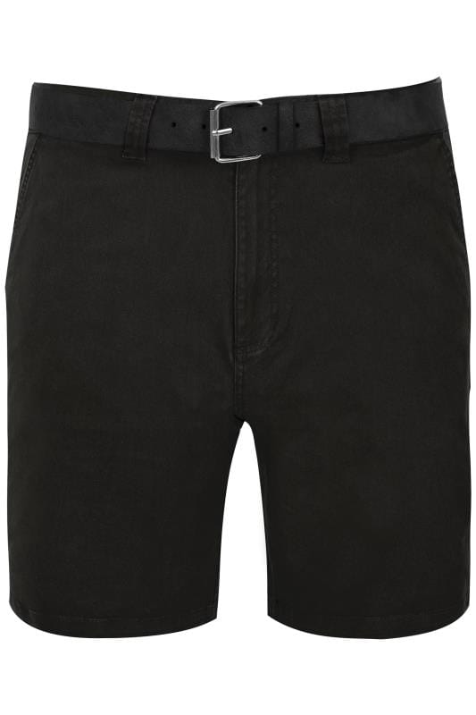 Men's Chino Shorts BadRhino Black Five Pocket Chino Shorts With Belt