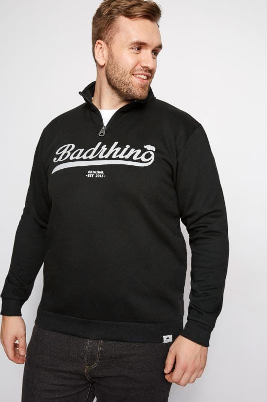 BadRhino Black Funnel Neck Logo Detail Sweatshirt