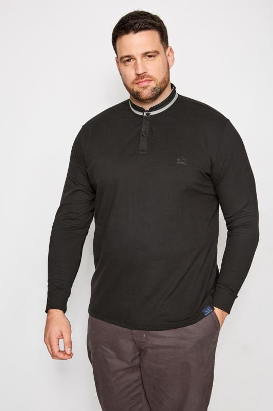 BadRhino Black Grandad Style Long Sleeve Polo Shirt