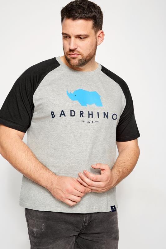 Plus Size T-Shirts BadRhino Grey Marl Raglan Crew Neck Logo T-Shirt