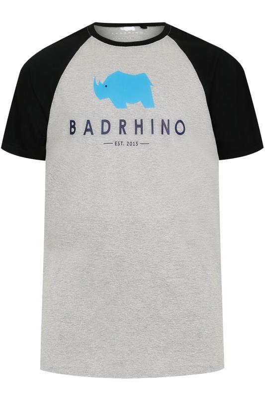 Men's T-Shirts BadRhino Grey Marl Raglan Crew Neck Logo T-Shirt