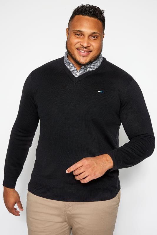 Plus Size Jumpers BadRhino Black Mock Shirt Jumper
