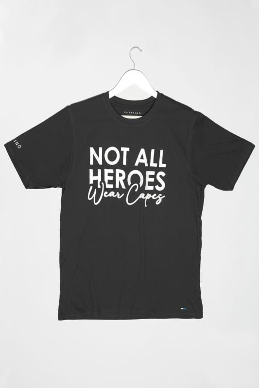 BadRhino Black 'Not All Heroes Wear Capes' Unisex NHS Charity T-Shirt