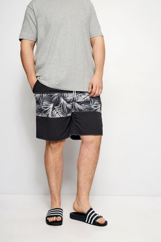 BadRhino Black Palm Leaf Board Swim Shorts