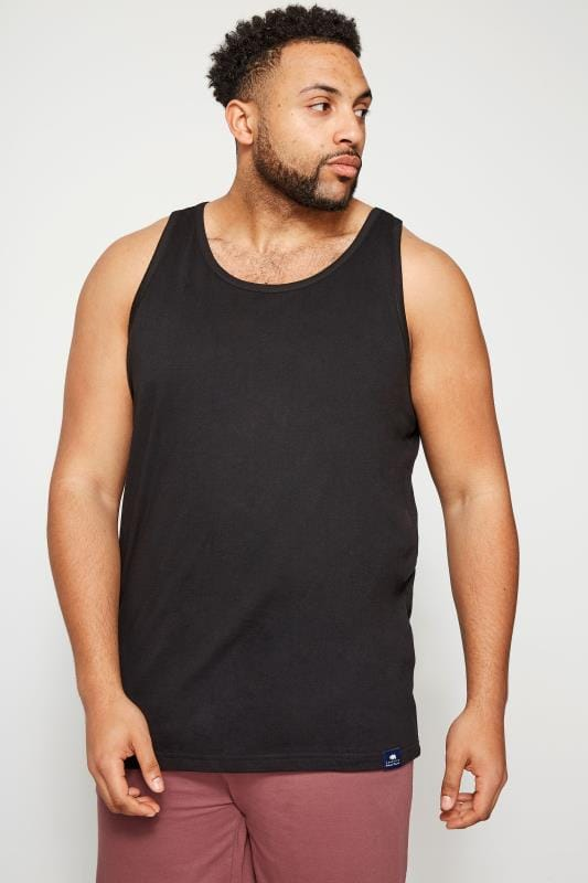 Plus Size Vests BadRhino Black Plain Crew Neck Cotton Vest