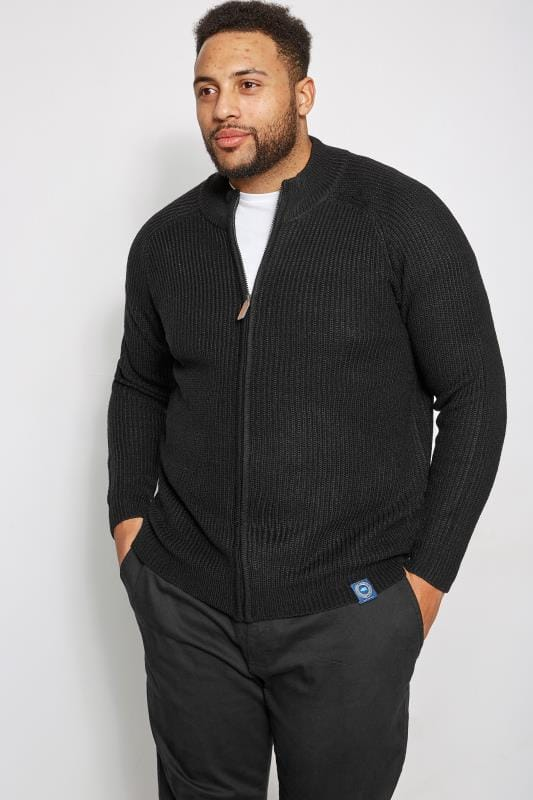 Große Größen Cardigans BadRhino Black Rib Knit Sweater With Funnel Neck