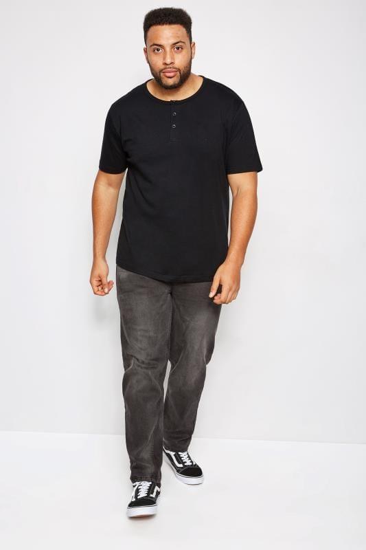 Plus Size T-Shirts BadRhino Black Short Sleeve Grandad T-Shirt