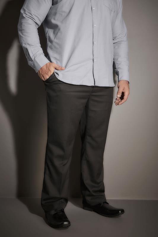 Plus Size Smart Trousers BadRhino Black Single Pleat Formal Trouser
