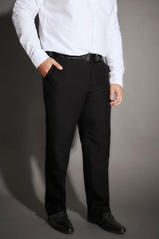 Plus-Größen Smart Trousers BadRhino Black Single Pleat Smart Trousers
