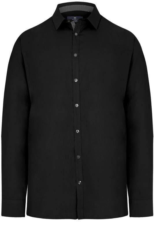 Men's Smart Shirts BadRhino Black Smart Patterned Trim Shirt