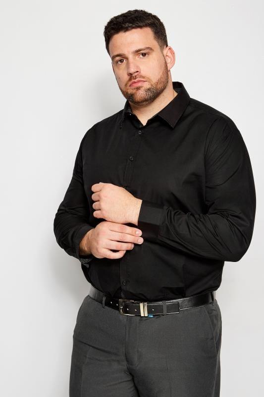 Plus Size Smart Shirts BadRhino Black Smart Patterned Trim Shirt