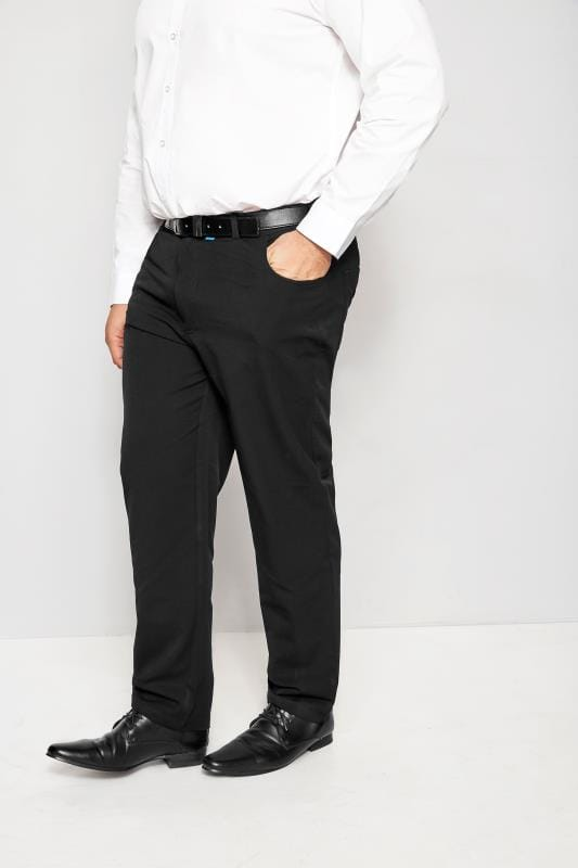 Plus Size Smart Trousers BadRhino Black Smart Straight Leg Stretch Trousers With 5 Pockets