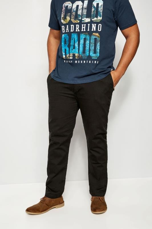 Plus Size Chinos & Cords BadRhino Black Stretch Chinos