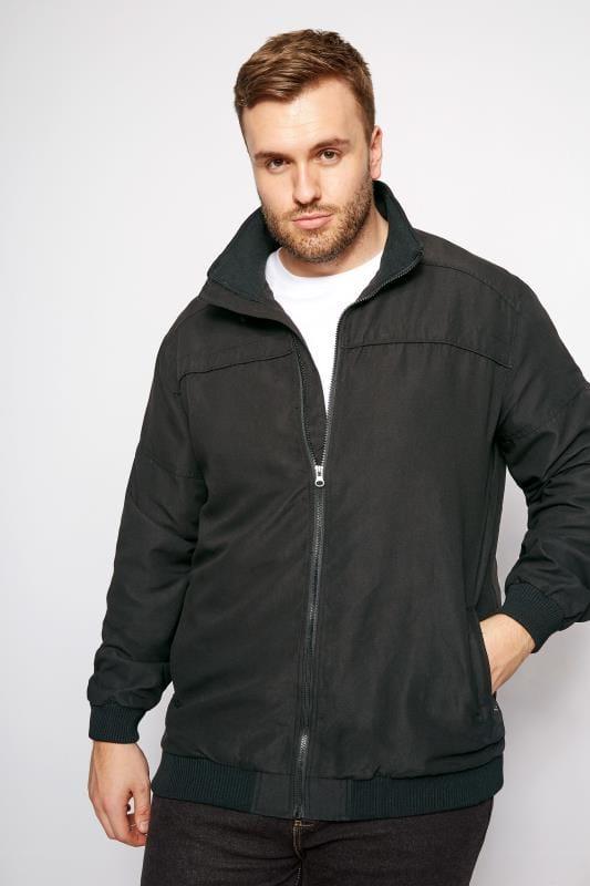 Plus Size Jackets BadRhino Black Suedette Harrington Bomber Jacket