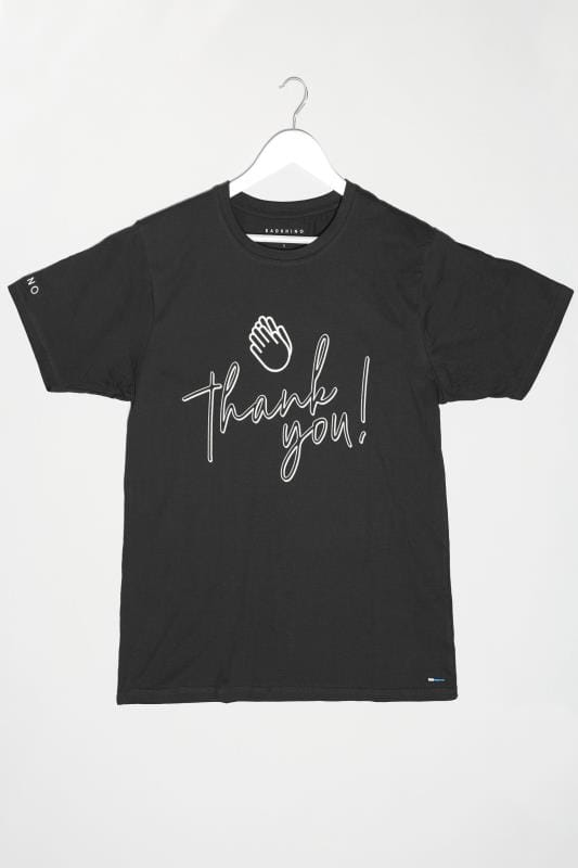 Plus Size T-Shirts BadRhino Black 'Thank You' Unisex NHS Charity T-Shirt