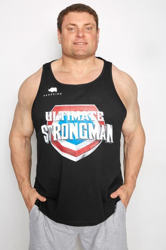 Vests dla puszystych BadRhino Black 'Ultimate Strongman' Vest Top