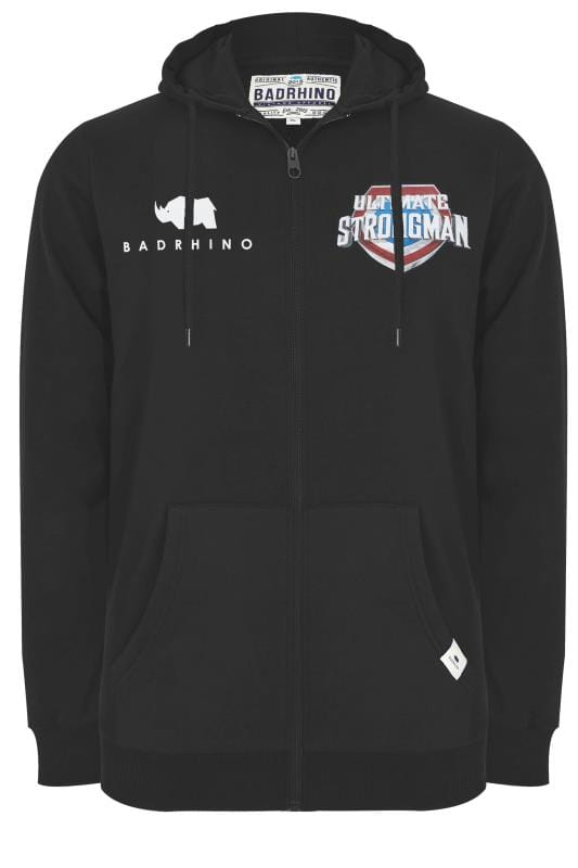 BadRhino Black 'Ultimate Strongman' Zip Through Hoodie