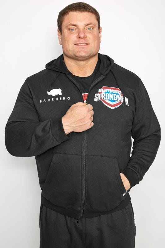 Plus Size Hoodies BadRhino Black 'Ultimate Strongman' Zip Through Hoodie