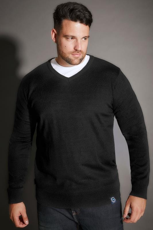 Jumpers BadRhino Black V-Neck Fine Knit Jumper 200333