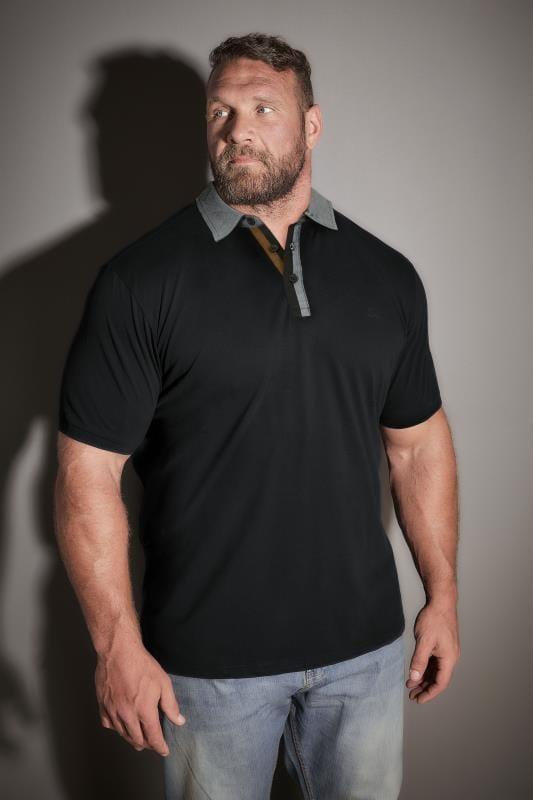 BadRhino Black Woven Stretch Contrast Collar Polo Shirt