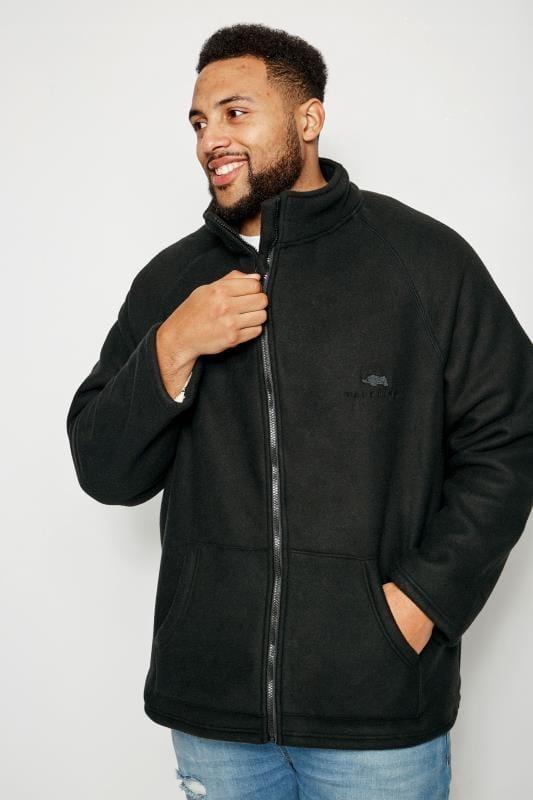 Plus Size Fleece BadRhino Black Zip-Through Fleece With Sherpa Lining