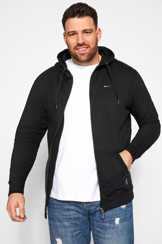 Plus Size Hoodies BadRhino Black Zip Through Hoodie