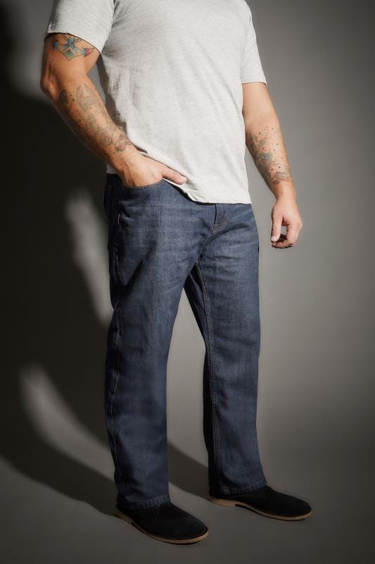 Plus Size Comfort BadRhino Blue Belted Comfort Jeans