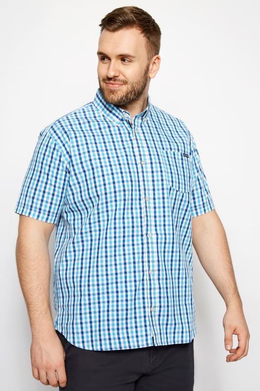 Plus Size Casual Shirts BadRhino Blue Check Short Sleeve Shirt