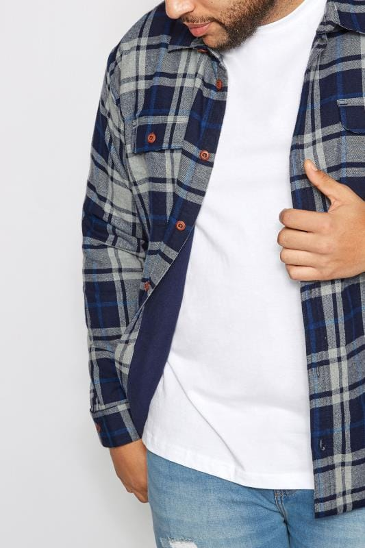 BadRhino Blue Checked Padded Shirt With Fleece Lining