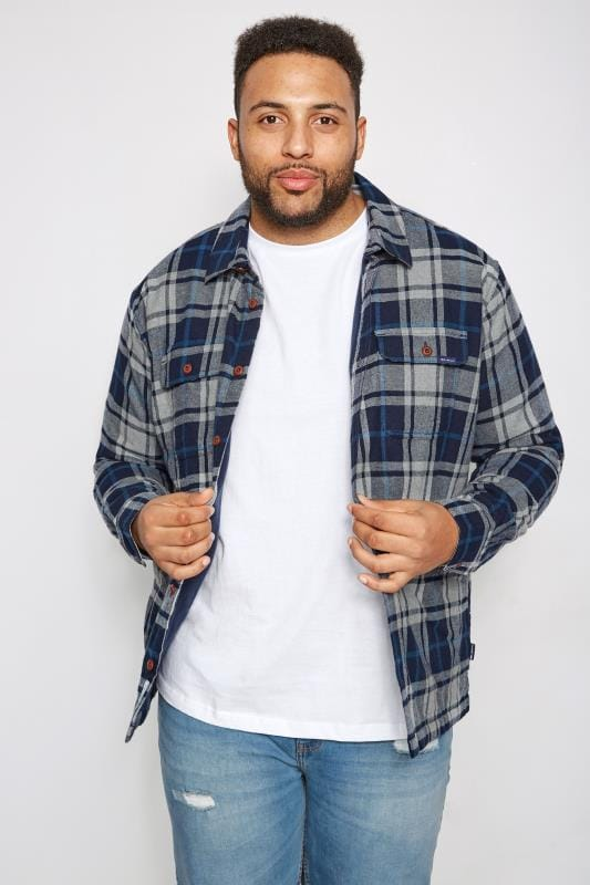 Plus Size Casual Shirts BadRhino Blue Checked Padded Shirt With Fleece Lining