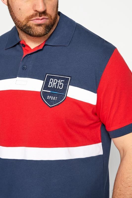 BadRhino Blue Colour Block Stripe Polo Shirt_9402.jpg
