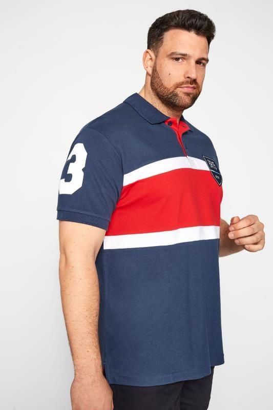 Plus Size Polo Shirts BadRhino Blue Colour Block Stripe Polo Shirt