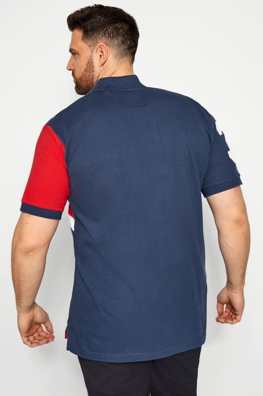 BadRhino Blue Colour Block Stripe Polo Shirt_db4c.jpg