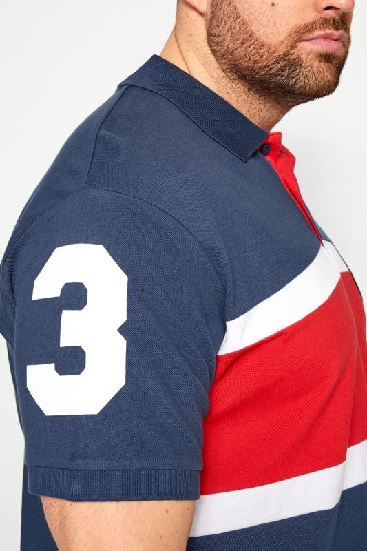 BadRhino Blue Colour Block Stripe Polo Shirt_fd09.jpg