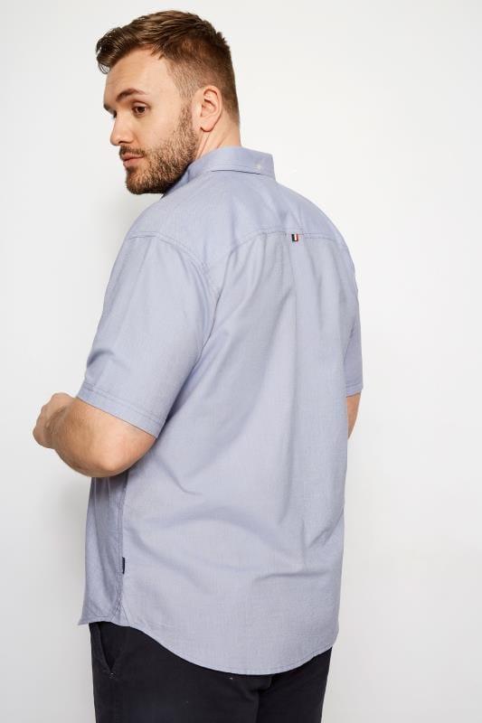 BadRhino Blue Cotton Short Sleeved Oxford Shirt